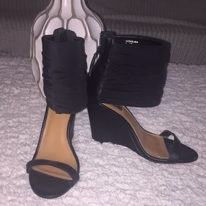 Black Wedges with Thick Ankle Strap